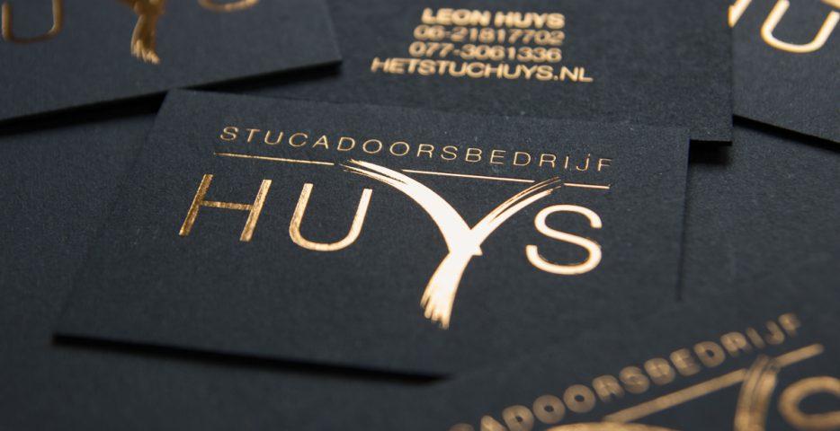 Visitekaartje met koperfolie voor Huys