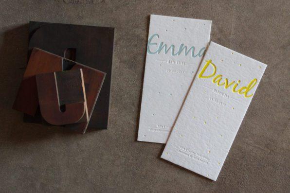 Geboortekaartjes voor David en Emma in letterpress