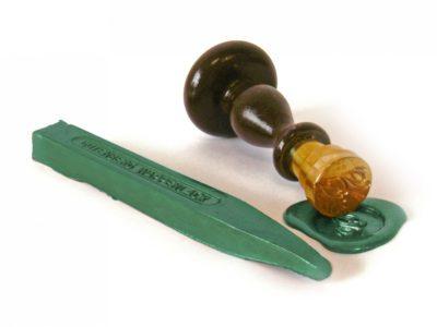 groene lakstempel voor lakstaven