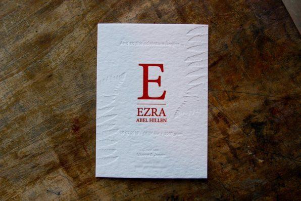 Letterpress geboortekaartje verdiept gedrukt