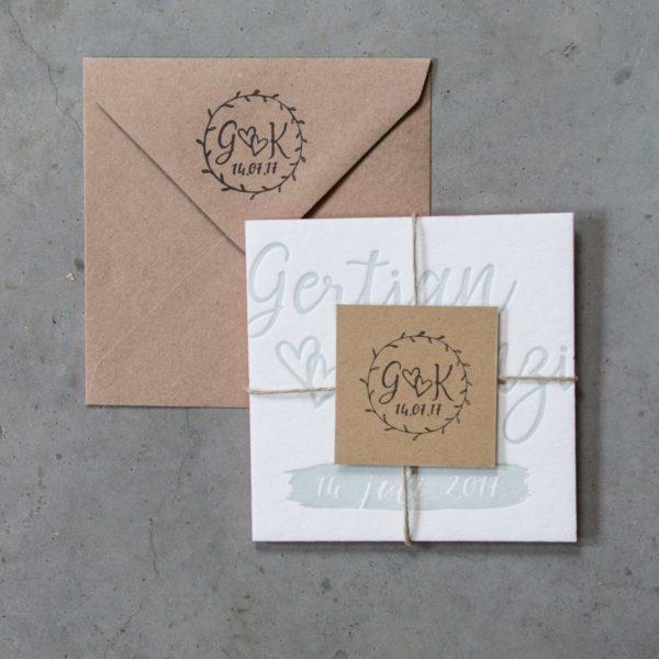 Trouwkaart met trouwstempels