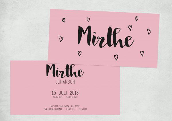 Letterpress geboortekaartje met hartjes