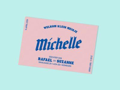Stoer geboortekaartje blauw roze