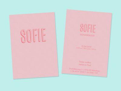 Geboortekaartje op roze papier