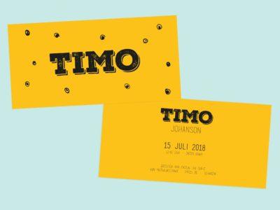 Letterpress geboortekaartje op geel papier