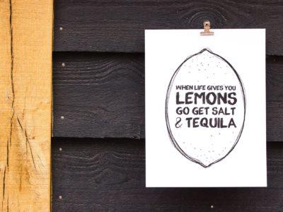 When live gives you lemons letterpress print