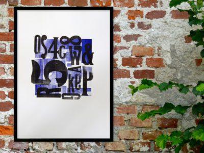 Letterpress poster houten letters