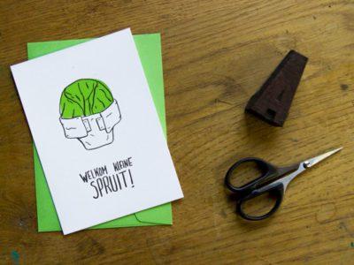 Letterpress wenskaart welkom kleine spruit