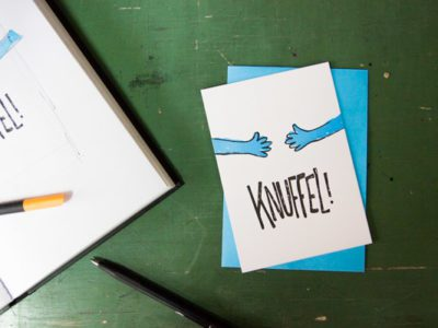 Letterpress wenskaart knuffel