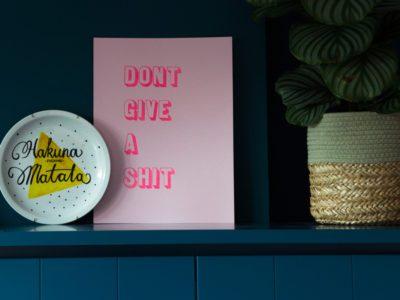 Fluor roze letterpress print