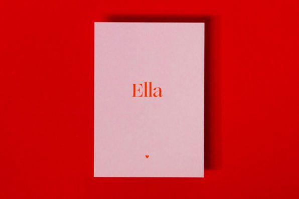 letterpress geboortekaartje typografisch roze