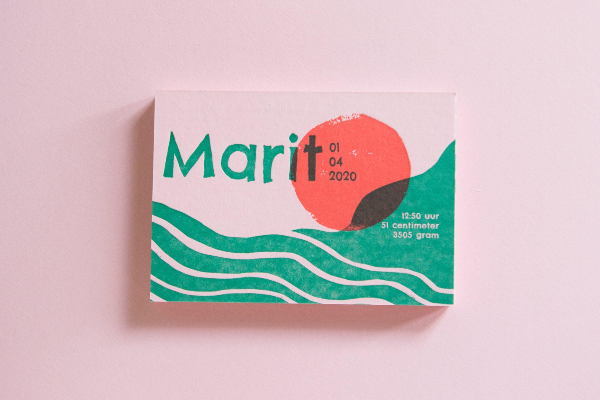 letterpress geboortekaartje colorplan candy pink origineel design