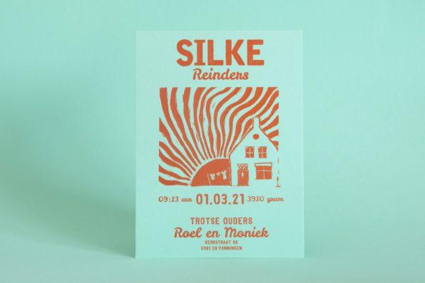 colorplan park green letterpress geboortekaartje