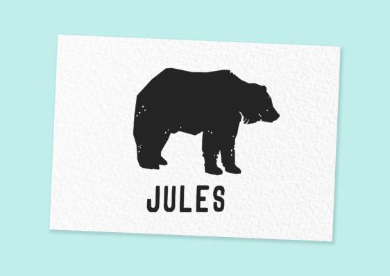 Naamstempel met eigen naam beer