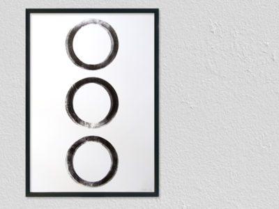Handgedrukte letterpress print cirkels zwart wit