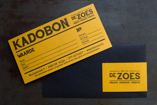 Kadobon gedrukt op Gmund bierpapier