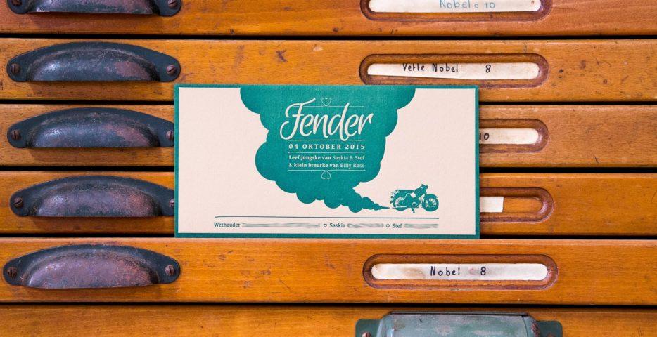 Letterpress geboortekaartje met motor