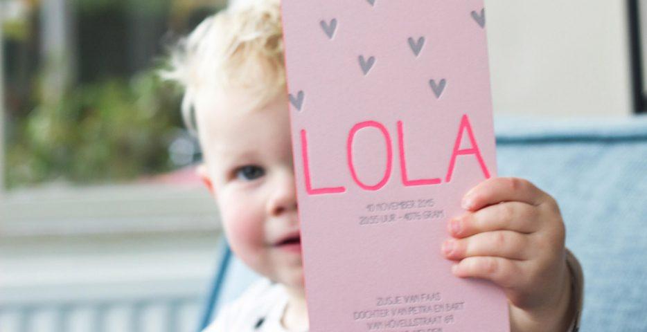 Letterpress geboortekaartje zilver en roze