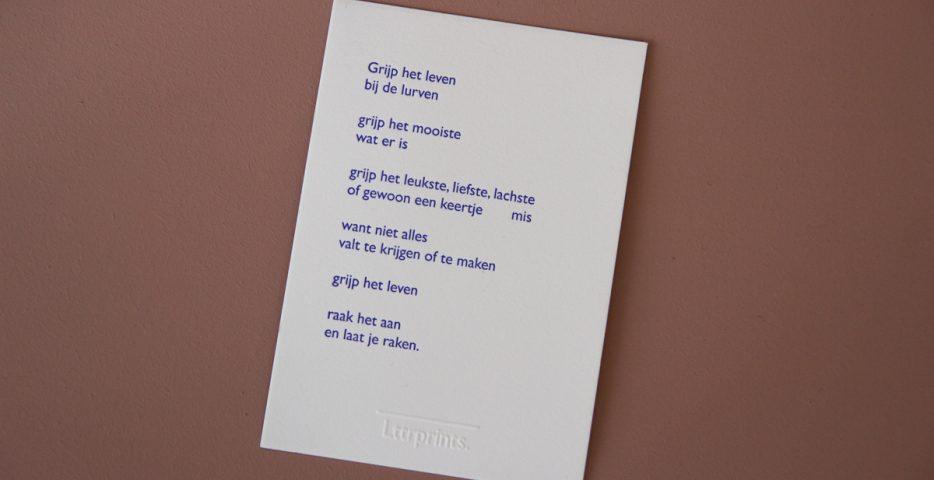 Gedicht handgedrukt Lttrprints