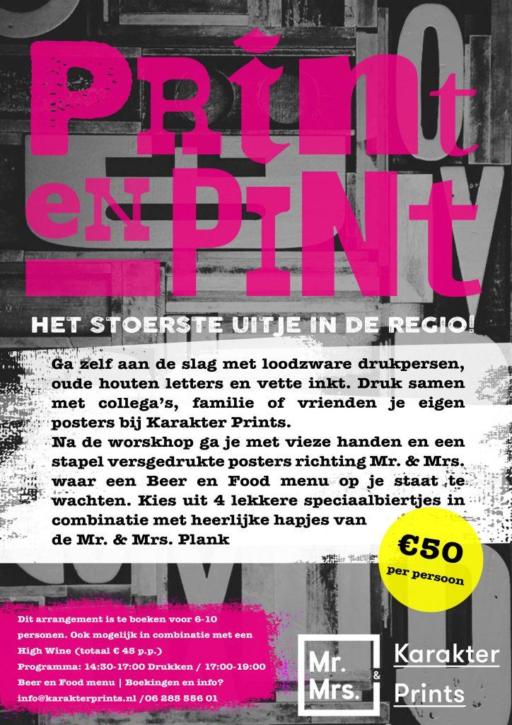 Flyer Print en Pint arrangement workshop Limburg