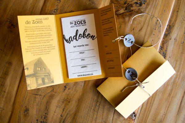 Kadobon de Zoes op Gmund Bierpapier