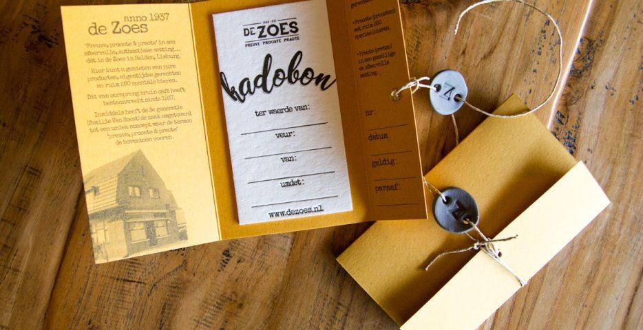 Letterpress kadobon op bierpapier