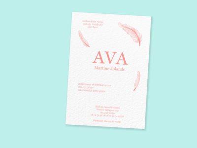letterpress geboortekaartje feisty favourites ava