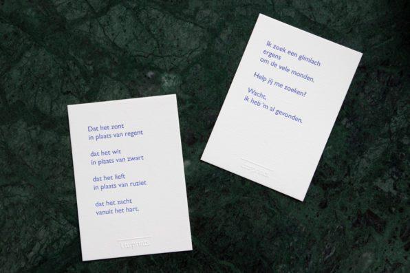 Lttrprints letterpress poeziekaart Ik zoek een glimlach
