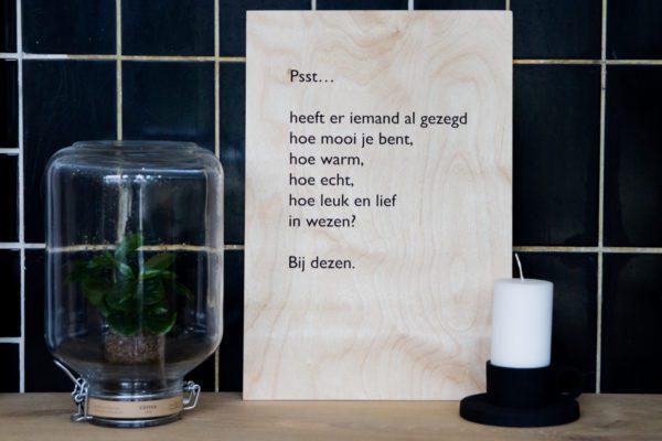zeefdruk op hout tekst lttrprints