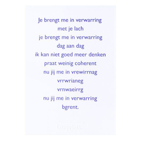 Lttrvreters poëziekaart gedicht verwarring