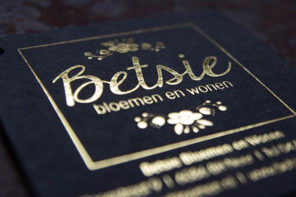 goudfolie boekenkaartjes voor Betsie Bloemen