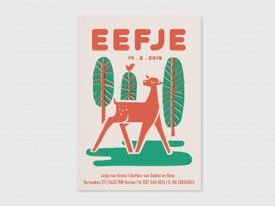 letterpress geboortekaartje hertje origineel retro