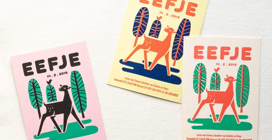 retro letterpress geboortekaartje hert
