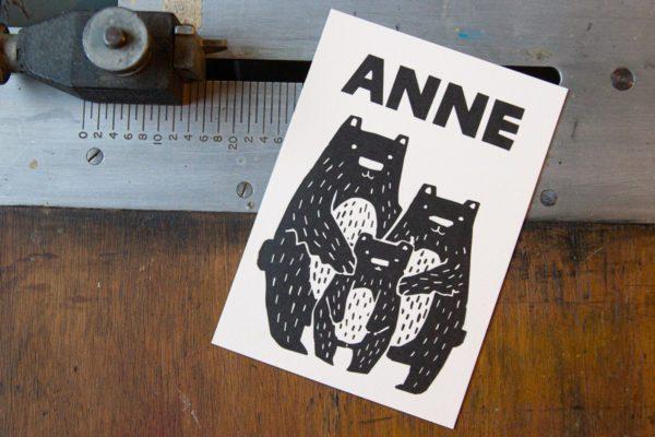 letterpress geboortekaartje beertjes retro