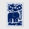 letterpress geboortekaartje blauw op blauw