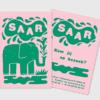 Letterpress geboortekaartje olifantje roze groen