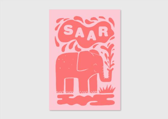 Letterpress geboortekaartje olifantje roze