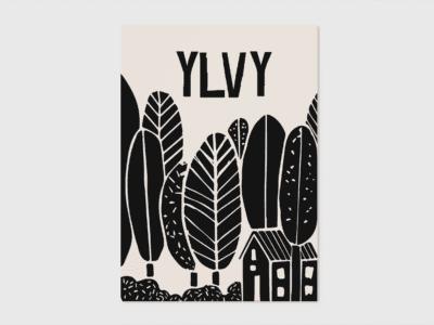 origineel letterpress geboortekaartje lino illustratie bos