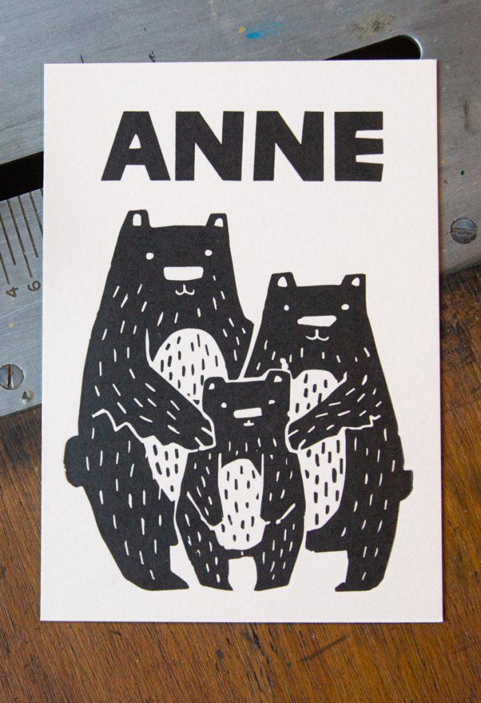 letterpress geboortekaartje zwart wit beertjes