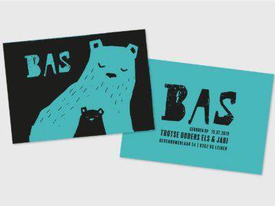 Geboortekaartje Beertjes Letterpress Zwart Blauw Karakter Prints