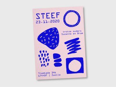 Origineel geboortekaartje letterpress is blauw roze organisch Karakter Prints
