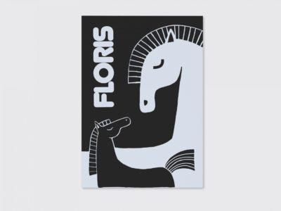 origineel Letterpress geboortekaartje paarden