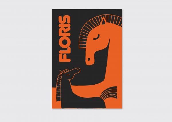 Letterpress geboortekaartje paarden