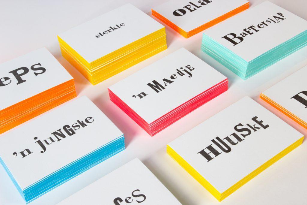 Letterpress wenskaarten Limburgs Dialect