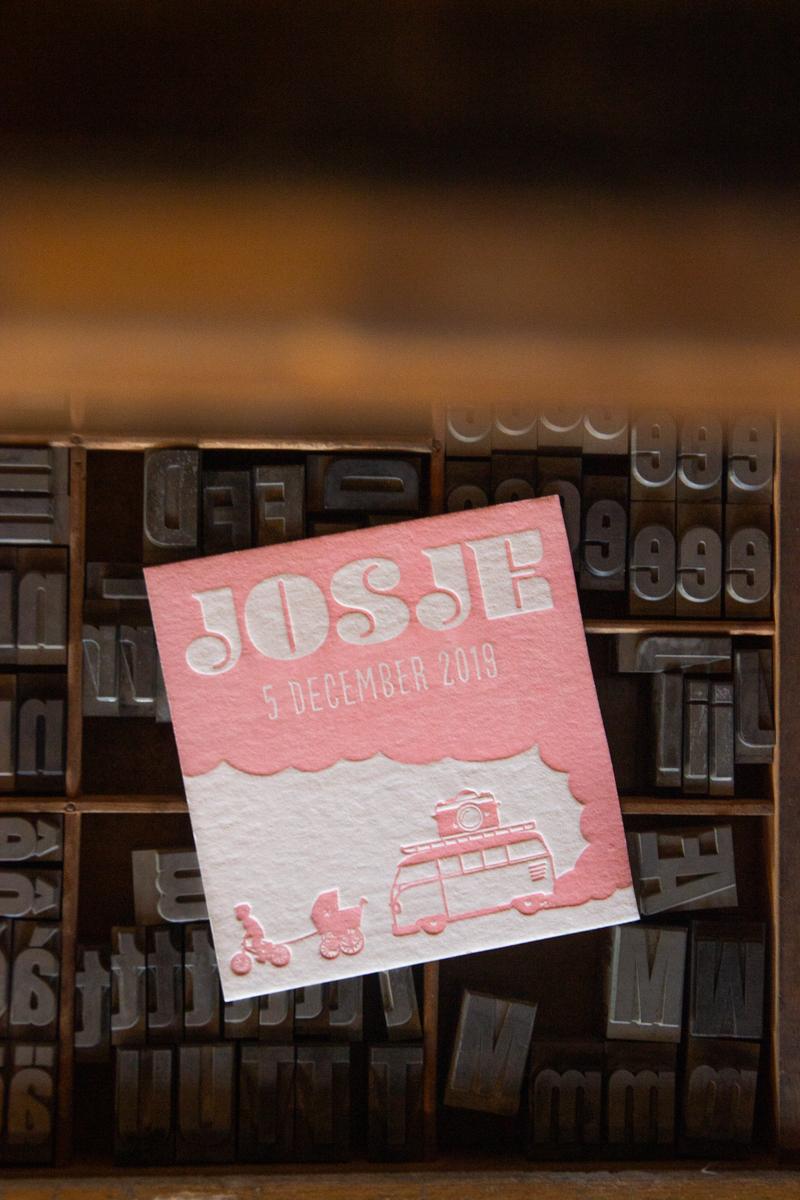 letterpress geboortekaartje volkswagen T1 silhouette