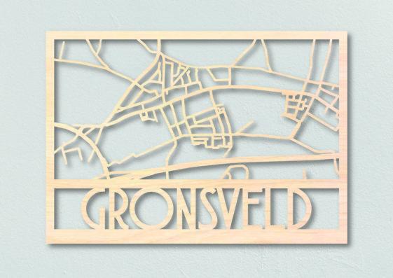 houten dorpsplattegrond Gronsveld
