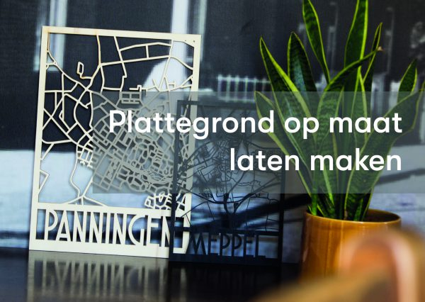 houten plattegrond laten maken van eigen dorp of stad in hout en zwart gebeitst