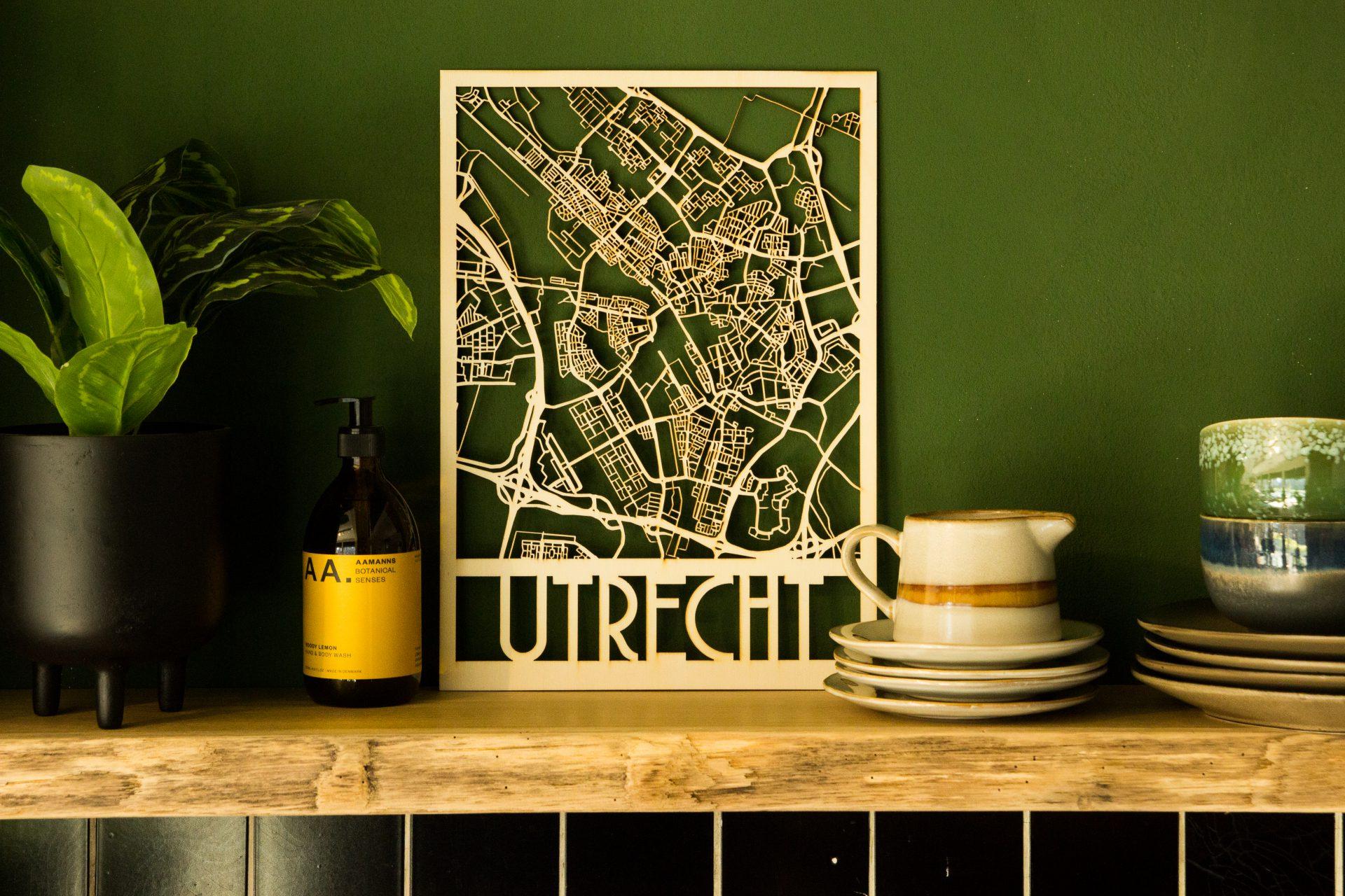 houten stadsplattegrond utrecht lasergesneden uit multiplex
