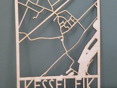 dorpsplattegrond kessel-eik houten landkaart op maat