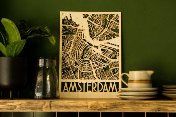 stadsplattegrond amsterdam houten kaart